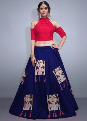 Blue Tafetta Silk Volume 8 Bride Maids Indian Lehenga Choli