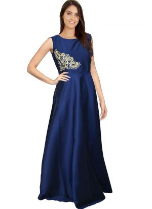 Blue Women And Girls Sleevless Western Gown