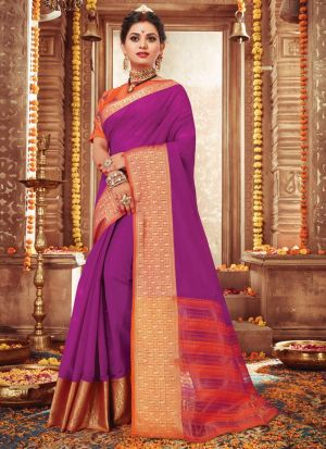 Bold And Gorgeous Magenta Pink Handloom Silk Saree