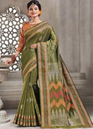 Bold And Gorgeous Mehandi Handloom Silk Saree