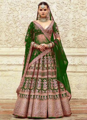 Bottle Green Addah Silk Bridal Lehenga Choli For Wedding