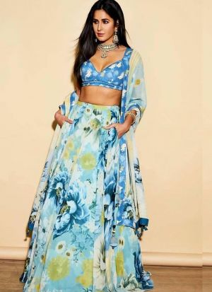 Bottle Green Color Floral Lehenga Choli