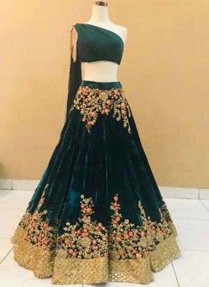 Bottle Green Pure Velvet Traditional Hit Design Lehenga Choli