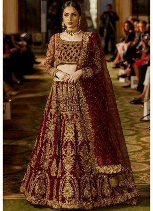 Bridal Maroon Kerala Silk Diamond Work Lehenga Choli With Mono Net Dupatta