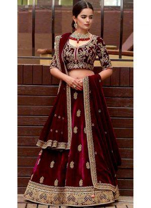 Bridal Maroon Velvet Diamond Work Lehenga Choli With Mono Net Dupatta