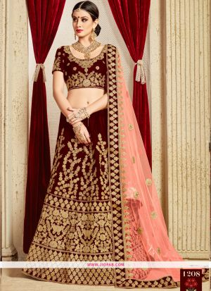 Bridal Pure Velvet Designer Heavy Lehenga Choli In Maroon Color