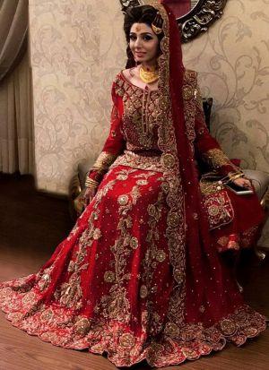 Bridal Red French Crepe Embroidered Lehenga Choli With Mono Net Dupatta