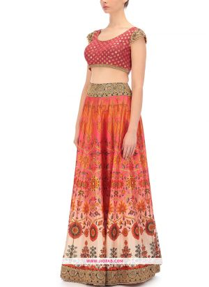 Bridal Satin Designer Heavy Lehenga Choli In Multi Color Color