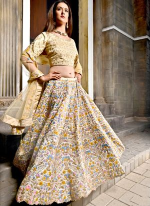 Bride Cream Bright Banarasi Peafowl Vol 28 Designer Lehenga Choli