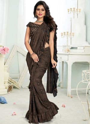Brown Color Ready To Wear Party Wear Ruffle Saree