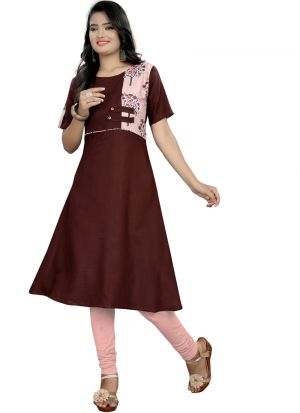 Brown Cotton Printed Stylish Kurti With Cream Button Print