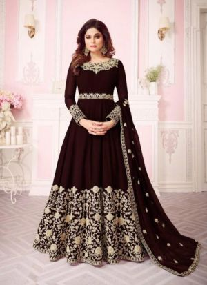 Brown Georgette Embroidered Floor Length Anarkali Suit
