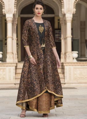 Brown Muslin Cotton Anarkali Style Flared Kurti