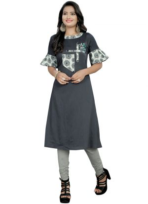 Brown Plain Stylish Kurti With Cream Button Print