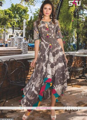 Brown Printed Designer Ladies Flair Kurti