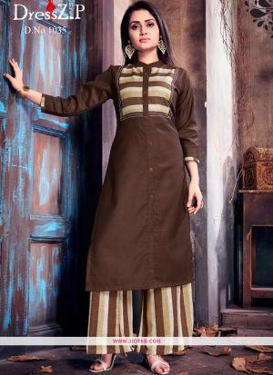 Brown Ruby Cotton Plain Heavy Designer kurti