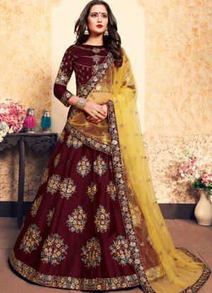 Brown Satin Designer Lehenga Choli For Sangeet