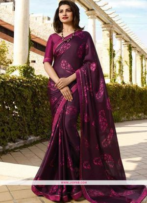 Burgundy Printed Chiffon Saree With Fancy Border