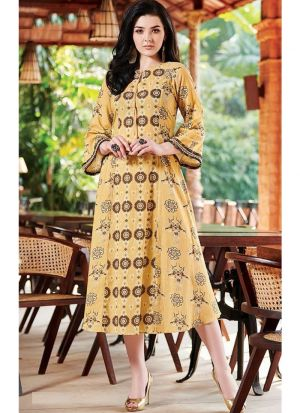 Butter Yellow Cotton Indian Kurti