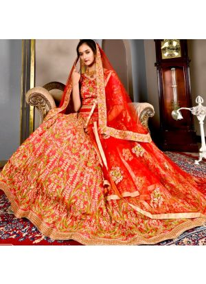 Candy Red Color Designer Exclusive Bridal Lehenga Choli With Soft Net Dupatta