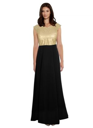Cap Sleeve Black Color Evening Gown