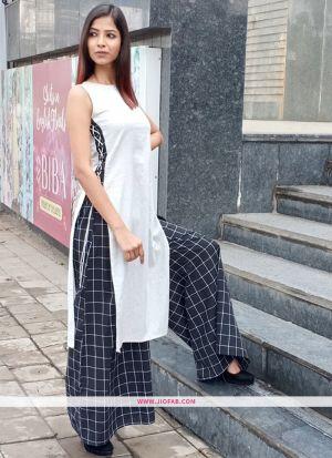 Casual Wear Grey Khadi Cotton Plain Simple Kurti With Palazzo