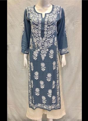 Causal Wear Chain Stitch Grey Salwar Suit