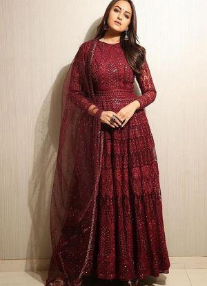 Chain Stitch Maroon Festive Wear Goregette Salwar Suit