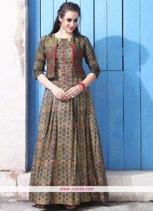Chanderi Cotton Beige Fancy Gown