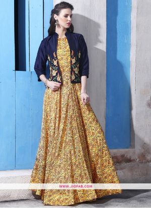 Chanderi Cotton Yellow Gown