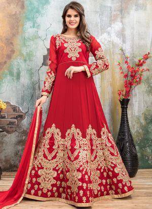 Cherry Red Faux Georgette Aanaya New Design Wedding Suit
