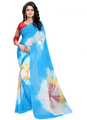 Chiffon Multi Color Party Wear Saree