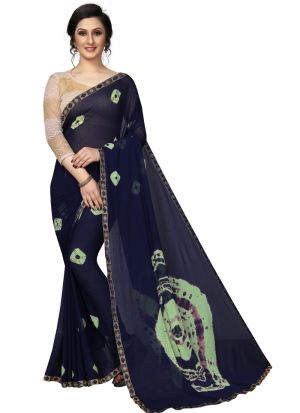 Chiffon Navy Party Wear Saree