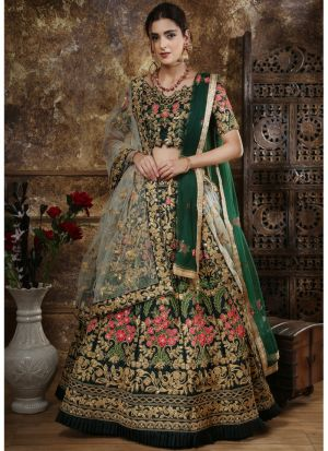 Classic Partywear Taffeta Satin Green Designer Lehenga Choli With Bridal Net Dupatta