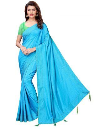 Classic Rama Solid Designer Saree