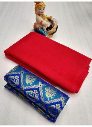 Classic Red Solid Designer Saree