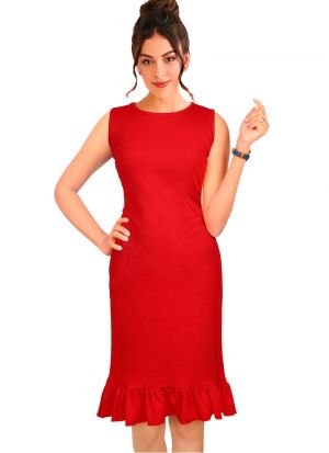 Classic Red Women Wear Short Dresses