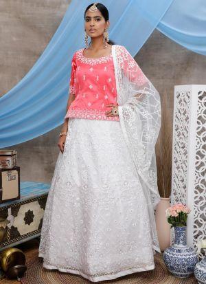 Classy Design White Net Lehenga Choli For Sangeet