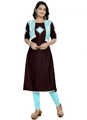 Coffee Rayon Printed Anarkali Jacket Style Kurti