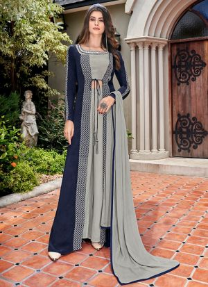 Crape Blue Designer Pakistani Suit For Party