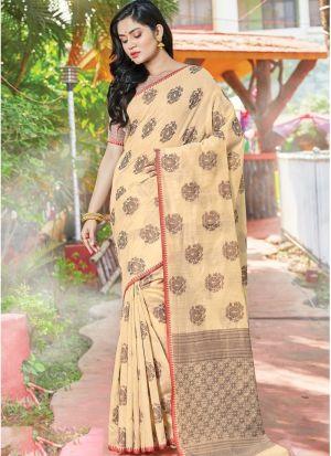 Cream Color South Indian Wedding Cotton Handloom Saree