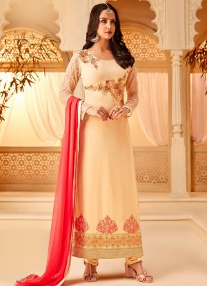 Cream Georgette Embroidered Staraight Pakistani Salwar Kameez For Eid