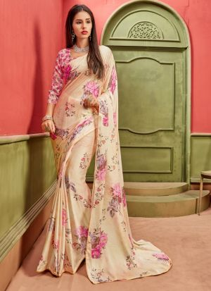 Cream New Arrival Satin Saree Collections