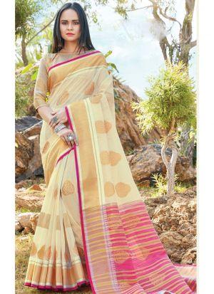 Cream Traditional South Indian Wedding Linen Cotton Saree