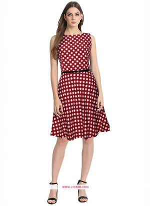 Crepe Western Wear Dress In Red Color