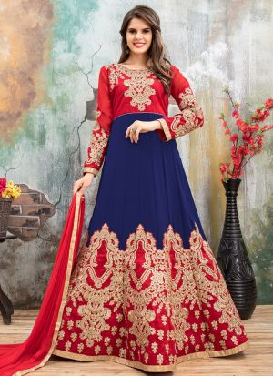 Dark Blue Andcherry Red Faux Georgette Aanaya New Designer Suit