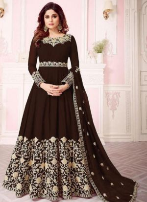 Dark Brown Georgette Designer Shamita Shetty Floor Length Salwar Suit
