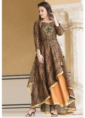 Dark Coffee And Yellow Anarkali Style Flared Kurti