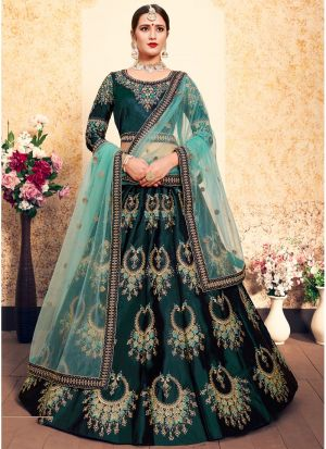 Dark Green Embroidered Designer Bridal Lehenga Choli