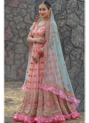 Dark Peach Butterfly Net Designer Lehenga Choli